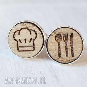 Drewniane spinki do mankietów KUCHARZ, kucharz, sztućce, drewniane, czapka,