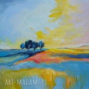 Pejzaż, pejzaż, niebieski, drzewa, żółty, pomarańcz