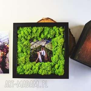 ramka na zdjęcie z mchu naturalnego, ramka, mech, ślub, rustykalny