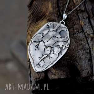 Naszyjniki dziki krolik serce, srebro, naszyjnik, anatomiczne