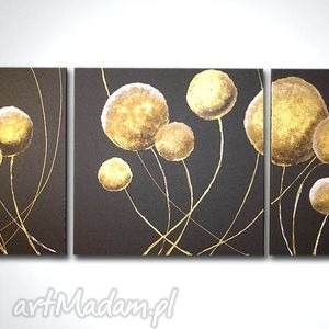 obraz ręcznie malowany dmuchawce wenge gold - 150x50, obraz, płótno, dmuchawce, kulki