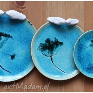 Komplet turkusowych talerzyków, ceramika, talerze, zastawa