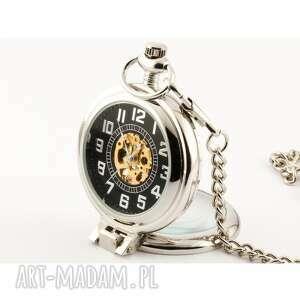 handmade zegarki elegancja w srebrze (black)