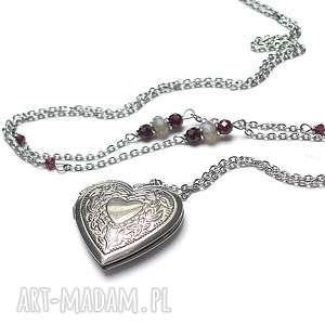 alloys collection - secret heart - stal szlachetna, granat, labradoryt, serce, sekretnik
