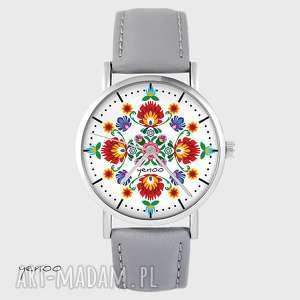 zegarek - folkowa mandala skórzany, szary, zegarek, mandala, folkowa, skórzany