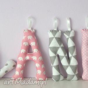 literki szyte imię blanka ozdoba pokoju - literki, litery, imię, dziecka