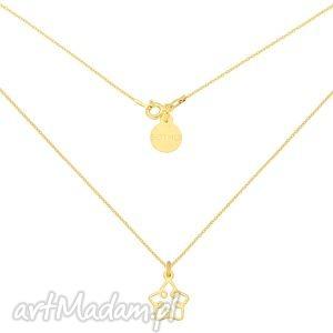 złoty naszyjnik z ażurową gwiazdką - łańcuszek