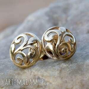 A088 Pozłacane floresy -kolczyki wkrętki, kolczyki, srebrne, pozłacane, ażurowe