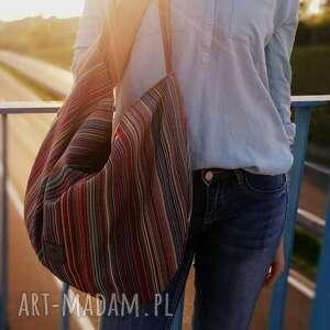 ręczne wykonanie na ramię duża torba worek w kolorowe paski