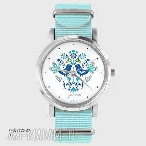 Prezent Zegarek, bransoletka - Folkowe ptaszki niebieski, nato, zegarek
