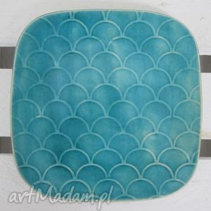 dekoracyjny talerzyk turkusowy, ceramiczny, podstawka, pod-świeczkę