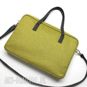 torba na laptop - tkanina w jodełkę lemon i skóra stalowa, laptop, dokumenty