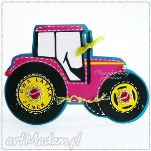 traktor - kartka dla pani oli - traktor, urodziny, chłopiec, pojazd, auto, koła