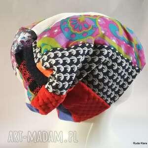 czapka etno boho patchworkowa handmade wiosenna na podszewce, box g1-rozmiar