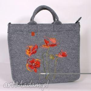jasna filcowa torba z makami, torebka, filcowa, laptop, praca, lekka, maki