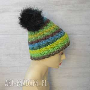 czapki czapka zimowa z pomponem unisex, gruba czapka, kolorowa