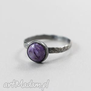 czaroit i srebro fakturowane - pierścionek 16, czaroit, pierścionek