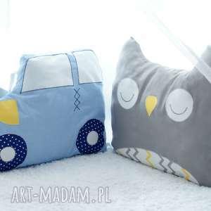 ręczne wykonanie pokoik dziecka komplet ochraniaczy do łóżeczka - poduszka chmurka sowa