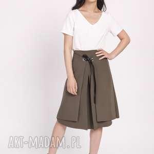 spódnice elegancka spódnica z efektownym wiązaniem przodu sp123 khaki