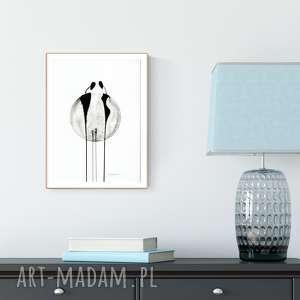 grafika grafika a4 malowana ręcznie, minimalizm, abstrakcja czarno-biała, ilustracja