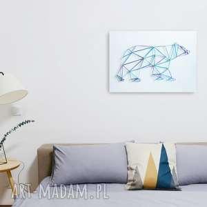 Obraz: geometryczny niedźwiedź. Wykonany w kilku odcieniach niebieskiego techniką