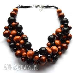 czekoladowe korale drewniane - ciemny naszyjnik, korale z czarnym, brązowe