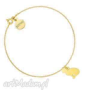 złota bransoletka z kotem - łańcuszek, pozłacana