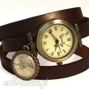 ręcznie wykonane zegarki mapa świata - zegarek / bransoletka na skórzanym pasku