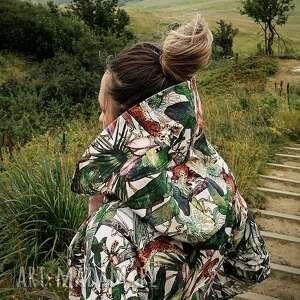 oversize bluza hoodie ogromny kaptur gepardy s, z wzorem, kapturem