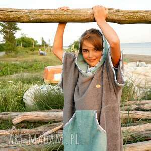 surf poncho dziecięce - gray stars, szlafrok dziecięcy, bawełniane