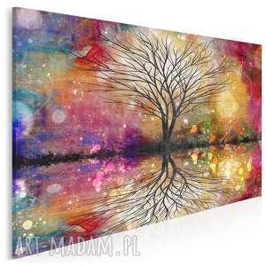 obraz na płótnie - drzewo kolorowy 120x80 cm (64901)