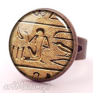hieroglify - pierścionek regulowany, antyczny, prezent egipt