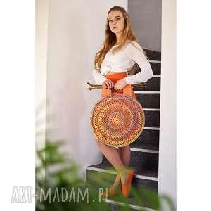 handmade do ręki kolorowa torba ażurowa