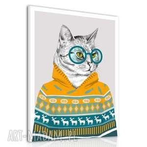 obraz drukowany na płótnie hipsterski kot w żółtym swetrze formacie 60x80cm