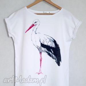 ręcznie wykonane bluzki bocian koszulka bawełniana biała s/m