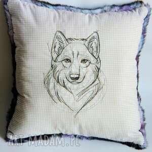 poduszki poduszka z wilkiem, wilk, poduszka, dekoracja, sypialnia, chłopak, bohema