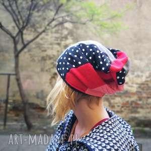patchworkowa kolorowa damska czapka etno grochy - grochy, czapka, etno, patchwork