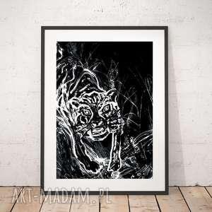 czarno-bialy plakat z tygrysem, tygrys plakat, czarno-biała grafika tygrysem