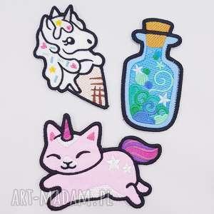 zestaw naszywek 3 sztuki, naszywki, kot, unicorn, jednorożec, magiczne, kotek
