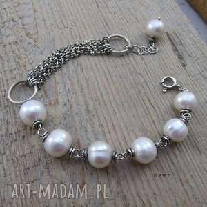 Subtelna bransoletka z perły, srebro, oksydowane, bransoletka, perła