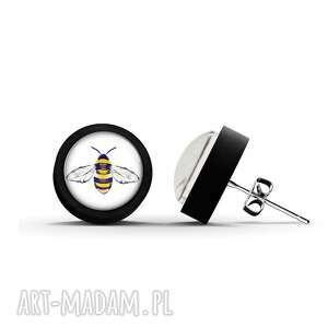 kolczyki drewniane - pszczoła sztyfty, czarne, kolczyki