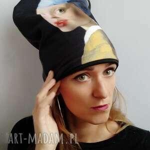 handmade czapki czapka dziewczyna z perłą