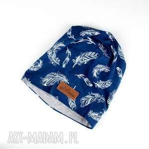 kolorowa czapka piórka niebieska - czapka, beanie, kolorowa, piórka, ciepła