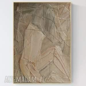 obraz na płótnie z wyjątkową fakturą, duża abstrakcja w ramie, 50 x 70 cm