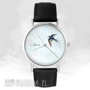 zegarek - jaskółka czarny, skórzany, unisex, zegarek, jaskółka, pasek