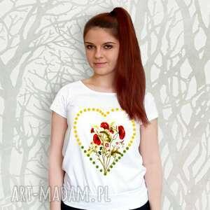 bawełniana malowana bluzka serce i kwiaty, bawełniana, bawełna, piękna