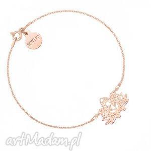 bransoletka z różowego złota z ażurowym lotosem - minimalistyczny