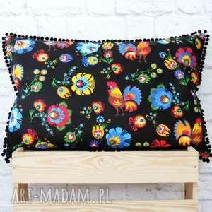 hand-made poduszki poduszka folkowa łowicka z pomponami 40cm/ 60cm