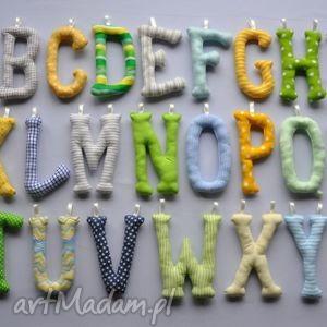 literki szyte handmade alfabet, literki, dziecko, pokój, ozdoba, prezent
