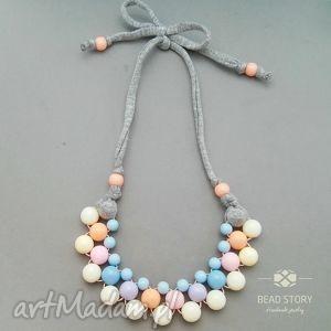 handmade naszyjniki naszyjnik z korali kremowych pastelowych